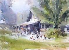 Direk Kingnok Watercolor artist  Sunday morning 34 x 48 cm.