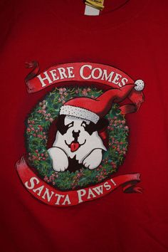 Here Comes Santa Paws Dog Red T Shirt XL Christmas X Mass Holiday Newfoundland #BigDogs #GraphicTee
