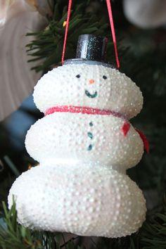 California Seashell Company Retail - White Urchin Snowman Ornament, $7.00 (http://www.caseashells.com/white-urchin-snowman-ornament-)