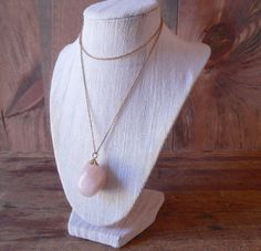 Vintage large pink stone pendant on gold plated by SchoolofVintage, $28.00
