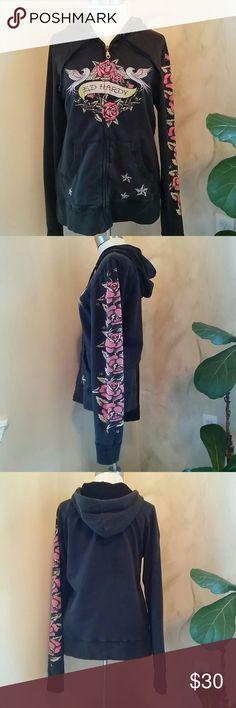 Ed Hardy Rose Sparrow Sweater Ed Hardy Rose Sparrow Sweater EUC Ed Hardy Sweaters V-Necks