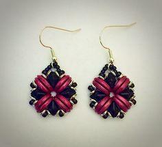 Earrings made with DiamonDuos and Crescent beads. - Beautiful Rain Jewelry