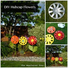 Love this recycling yard art project! I& love to mix the pops of color in my garden from the different flower yard art DIY projec. Garden Crafts, Garden Projects, Craft Projects, Art Crafts, Craft Ideas, Project Ideas, Fun Ideas, Kids Crafts, Yard Art
