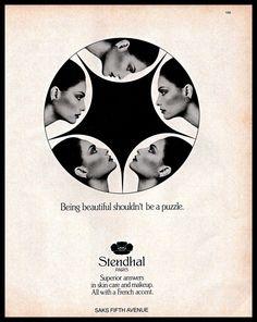 1983 Stendhal Paris #SkinCare #Makeup Beautiful Woman #B&W #1980s Vintage Print #Ad #Stendhal