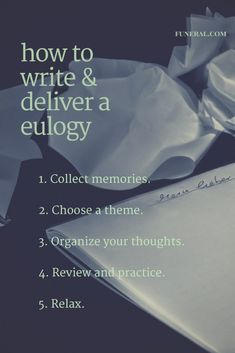 tips for writing a eulogy speech Heartfelt eulogies words that last a lifetime and beyond easily create and deliver loving eulogy based on these proven, heart touching eulogy speech templates.
