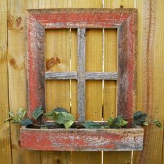 Country Wood Crafts | Decorative rustic barn wood frame window box would be cute with some lace type curtain pieces shredded in the windows pulled back