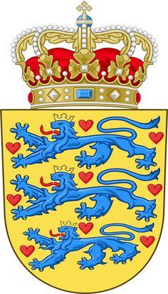 Danmarks rigsvåben. National Coat of arms of Denmark.svg