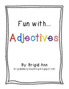 Freebie! Adjectives Activities Packet for Free