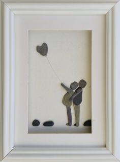 Loving Couple, Pebble Wall Art, Cornish Pebble Art, Beach Art, Made in Cornwall, pebble Heart, Picture Frames, by CornishPebbleArt on Etsy