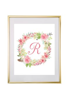 Download and print this free watercolor floral wreath monogram maker. Just follow the directions below to make your own monogram!