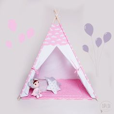 Teepee pink clouds tipi children's teepee by TipiTuHandmade
