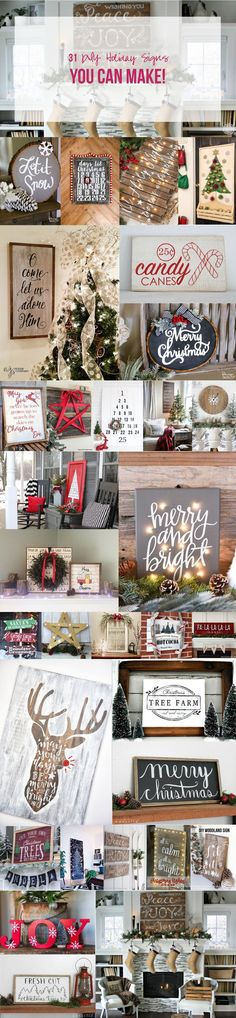 31 DIY Holiday Signs You Can Make! These holiday signs are so cute... I need to make like five of them for Christmas gifts!
