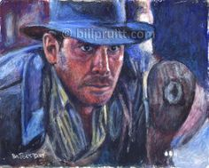 "ORIGINAL Indiana Jones Raiders Harrison Ford oil painting art 8""x10"" Bill Pruitt #IndianaJonesArt #RaidersLostArk"