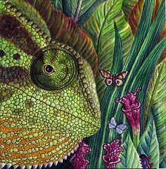 Fauna (group quilt, lizard detail)