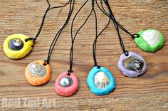 Make sea shell pendants with shells and colored salt dough. Great idea!