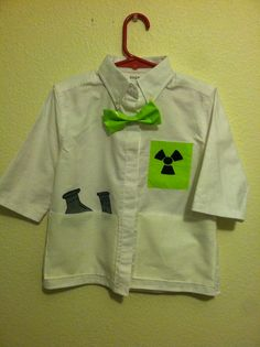 Mad Scientist Costume -Boys long sleeve shirt cut off the cuffs, add pockets and duct tape for tie and pocket flasks.