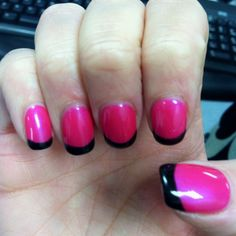 Shellac hot pink with black shallac tips.