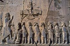 Great rock carving of Bistun belonging to the Persian King Darius, showing king Darius and the rebels; King Darius was the king of Persian Achaemenid Empire. in the Persian city of Kermanshah, Iran. Ahura Mazda, Ancient Aliens, Ancient History, Ancient Mesopotamia, Ancient Civilizations, Perse Antique, Cyrus The Great, The Hierophant, Achaemenid