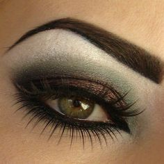 gorgeous eye makeup with rust and military green, kohl on lower lashline and waterline to intensify the look