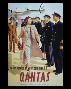 Vintage QANTAS poster (Australia's first airline) Retro Ads, Vintage Advertisements, Vintage Ads, Vintage Airline, Vintage Advertising Posters, Travel Ads, Airline Travel, Air Travel, Images Vintage