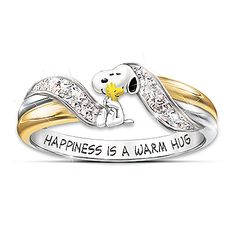 Happiness Is PEANUTS Snoopy And Woodstock Embrace Women's Ring