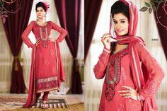 Blush Pink chiffon punjabi suit with border work.pair with mathcing bottom and dupatta. Punjabi Suits, Salwar Kameez, Blush Pink, Chiffon, Sari, Casual, Fashion, Light Rose, Silk Fabric