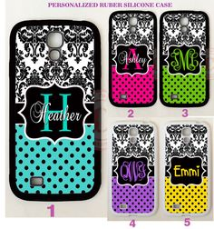 DAMASK PURPLE TEAL POLKA DOTS MONOGRAM Case For Samsung Galaxy S8 S7 S6 NOTE 5 4 #UnbrandedGeneric