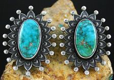 Calvin Martinez Rare Gem Grade Fox Turquoise Ingot Sunburst Earrings