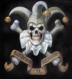Joker skull and crossbones Jester Tattoo, Clown Tattoo, Joker Card Tattoo, Wicked Jester, Evil Jester, Arte Horror, Horror Art, Joker Clown, Badass Skulls