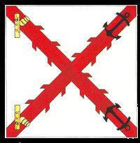 Bandera de Batallón de Artillería de Marina (1748-1808). Spanish Armada, Continental Europe, Naval History, Napoleonic Wars, Knights, Flags, Renaissance, Britain, Lineman