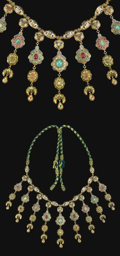 Morocco   'Lebba' ~ Gem-set and enamelled gold necklace   18th century   Est. £40'000 - 60'000 together with a pair of matching 'Khros' earrings (Apr. '14)