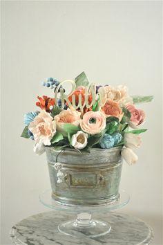 Garden floral arrangement cake from a Tea for Two Garden Party on Kara'a Party Ideas | KarasPartyIdeas.com (24)