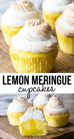 Lemon Meringue Cupcakes with a surprise tart filling! A cheery and delicious treat recipe! These Lemon Meringue Cupcakes have a surprise filling that make it a perfect spin off of the classic Lemon Meringue Pie. Lemon Desserts, Lemon Recipes, Just Desserts, Baking Recipes, Delicious Desserts, Yummy Food, Delicious Cupcakes, Vanilla Cupcake Recipes, Pie Recipes