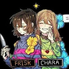 Frisk and Chara..the look on Frisk's face tho...its well odd....she ussualy look happy but this time..umm..i guess not
