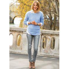 Jeans slim destroy Soft Grey | La Redoute