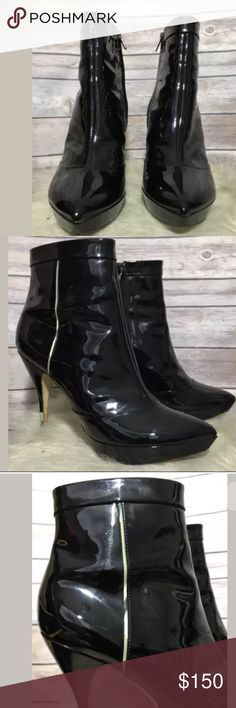 8b6a66fb45f5d7 EMILIO PUCCI Black Patent Leather Booties..Sz 81 2 Black luscious sexy boots