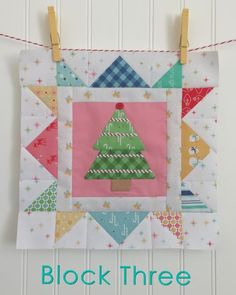 Block Three of the Cozy Christmas Sew Along Lori Holt. This block was created using Lori's templates and her latest collection, Cozy Christmas for Riley Blake Designs.