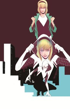 Edge of Spider-Verse (of - Gwen Stacy: Spider-Woman! In an alternate universe, Gwen Stacy was bitten by the radioactive spider, not Peter Parker. She's smart and can lift a car - just don't tell her Police Chief father! Spider Girl, Marvel Spider Gwen, Spider Women, Gwen Stacy, Marvel Girls, Marvel Art, Marvel Females, Marvel Women, Comics Girls