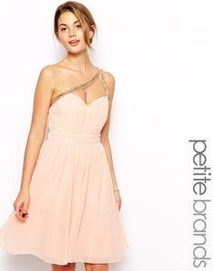 Little Mistress Petite One Shoulder Embellished Prom Dress