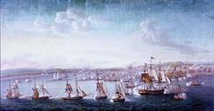 First Barbary War Preble's squadron during the afternoon of 3 August Felice Cornè Barbary Wars, Barbary Coast, Ship Paintings, African Countries, A4 Poster, Vintage Artwork, History Books, American History, Historia
