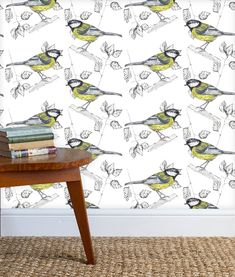 wallpaper featuring the Great Tit. Birds, nature, flora and fauna. Paste the wall coated, non woven paper. Luxury Wallpaper, White Wallpaper, Rachel Reynolds, Great Tit, Luxury Lifestyle Women, Winter House, Flora And Fauna, Happy Halloween, Home Accessories