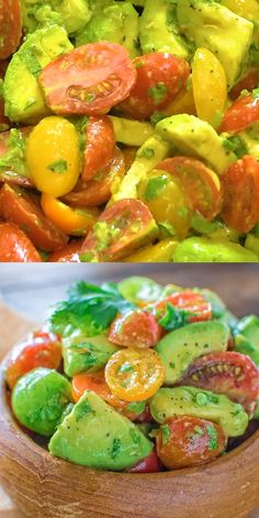 Tomato Salad - Healthy and so flavorful, this Avocado Tomato Salad makes a great addition to your dinner or lunch. -Avocado Tomato Salad - Healthy and so flavorful, this Avocado Tomato Salad makes a great addition to your dinner or lunch. Healthy Salads, Healthy Dinner Recipes, Vegetarian Recipes, Healthy Eating, Cooking Recipes, Vegan Vegetarian, Clean Eating, Salads For Lunch, Cooking Games