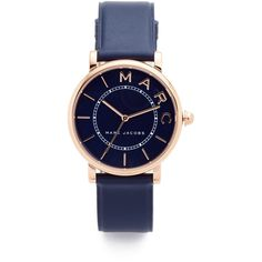 Marc Jacobs Roxy Leather Watch (675 BRL) ❤ liked on Polyvore featuring jewelry, watches, marc jacobs watches, leather wrist band watch, leather watches, marc jacobs jewelry and leather band watches