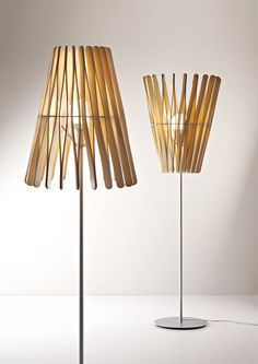 Stick Lamp collection by Matali Crasset for Fabbian Illuminazione Wooden Lamp, Wooden Diy, Event Lighting, Lighting Design, Wedding Lighting, Laser Cut Lamps, Small Lamps, Deco Design, Table Lamp