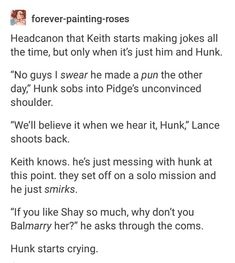 Poor Hunk XD it was a really good pun tho <<< Pidges unconvinced shoulder