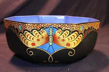 STUNNING RARE VINTAGE CROWN DUCAL OCTAGON BOWL ASIAN ART DECO ANTIQUE SIGNED