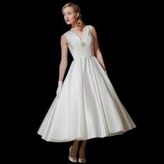 Nice tea length wedding dress audrey hepburn 2017-2018