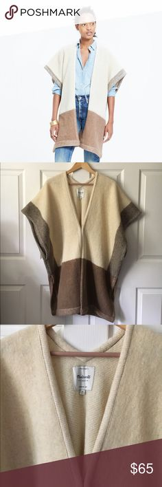 NWOT Madewell Blanket Cape in Antique Cream Removed tags but never worn. In pristine condition. Soft, thick wool in beige/cream color block. Please make all reasonable price inquiries through the Poshmark Offer feature to be considered. NO TRADES OR PAYPAL. Madewell Sweaters Shrugs & Ponchos