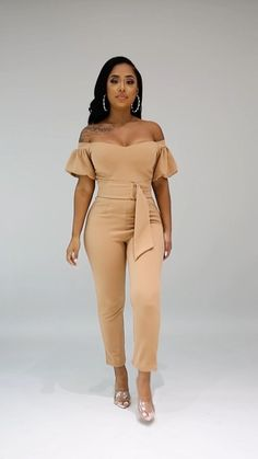 Classy Dress, Classy Outfits, Chic Outfits, Fashion Outfits, Jumpsuit Dressy, Jumpsuit With Sleeves, Latest African Fashion Dresses, African Print Fashion, Curvy Women Fashion