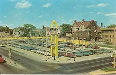 Here is a vintage color postcard from the 1960s featuring a classic view of the used car lot at Humphrey Chevrolet Company, 3419 West Wisconsin Avenue in Milwaukee, Wisconsin. Cars from the era include Chevrolet, Corvair, Pontiac, Buick Special, Volkswagen Beetle and more.